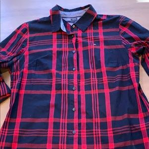 Tommy Hilfiger Blue & Red Plaid Button Down Shirt
